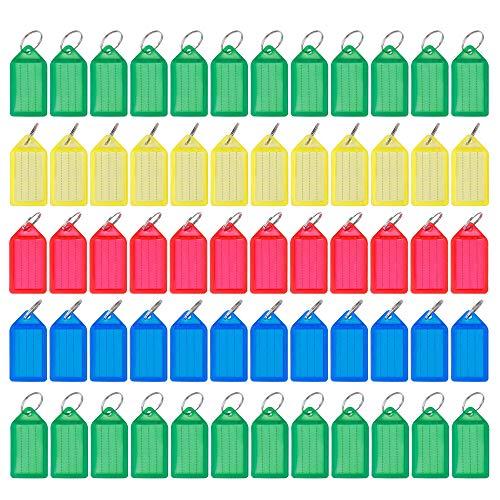 Schlüsselschilder Kunststoff Gepäck ID Schlüsselanhänger zum Beschriften mit Auswechselbarem Etikett für zu Hause oder im Büro 60 Stück