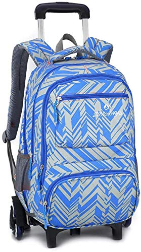 B/H Cute Print Trolley Backpack,Student trolley schoolbag female, detachable junior high school rolling bag-Blue (Six Rounds),Rolling Backpack for Kids Adults