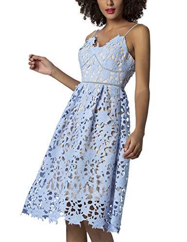 APART Damen Spitzenkleid mit Spaghetti-Trägern, hellblau, 40