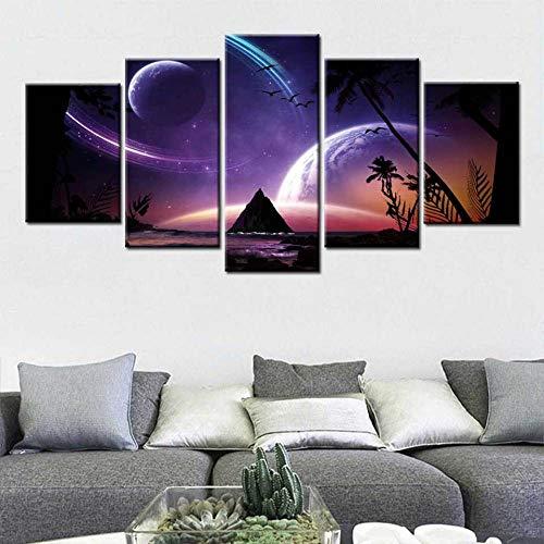 Moderno Nórdico 5 Piezas Lienzo Pintura Impresión De Imagen Espacio Exterior Cielo Estrellado Hogar Cartel Decorativo De Pared para Decoración De Sala De Estar(Sin Marco)