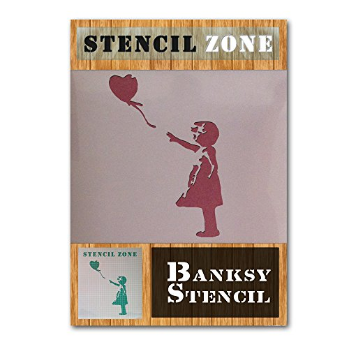 Banksy klein meisje ballon mylar luchtborstel schilderij muur kunst sjabloon