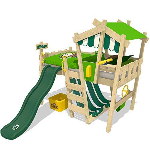 WICKEY Cama infantil CrAzY Hutty Cama alta Cama de aventura con somier, manzana-verde + tobogán verde