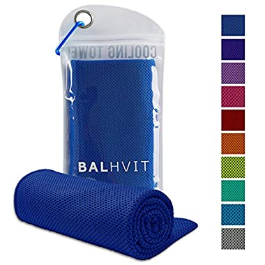 Balhvit Cooling Towel, Cool Towel for Instant Cooling Relief, Chilling Neck Wrap, Ice Cold Scarf For Men Women, 40x12'', Microfiber Bandana - Evaporative Chilly Towel For Yoga Golf Travel Beach