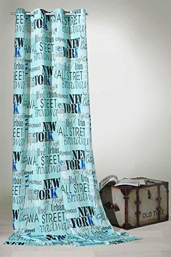 heimtexland - Tenda con Occhielli Urban Chic New York City, 245 x 140 cm, Colore: Turchese Tenda Tipo 228