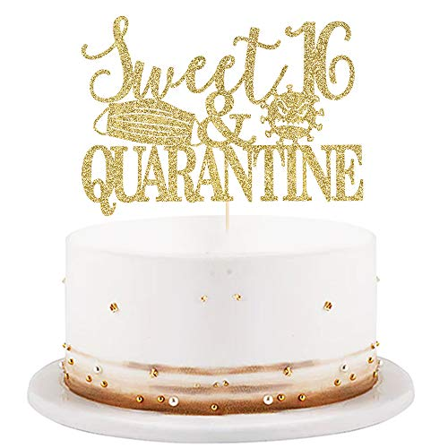 LVEUD Sweet 16 & Quarantined Cake Topper- 16th Quarantined Birthday Party Decorations,Social Distancing Birthday Party Supplies,16th Quarantined Birthday Party Decorations (Golden Glitter)