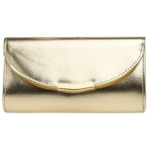 Caspar TA360 elegante Damen Clutch Tasche Abendtasche mit langer Kette, Farbe:gold, Größe:One Size