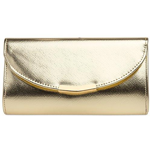 CASPAR TA360 elegante Damen Envelope Clutch Tasche/Abendtasche mit langer Kette, Farbe:gold,...