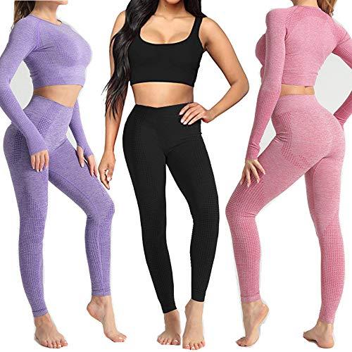 Conjunto Yoga 3 Piezas Ropa Fitness , Pantalones De Yoga Súper Elásticos Sin Costuras+Bralette Para Mujer+Camiseta Deportiva De Manga Larga Sin Costuras Mujer Morado ( S)