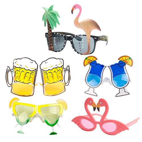 PRETYZOOM 5 Piezas Gafas de Sol de Fiesta Hawaianas Gafas Temáticas Luau Suministros para Fiestas de Baile (Flame Bird + Lemon Cup + Goblet + Beer Mug + Onion Powder Flame Flame Bird)