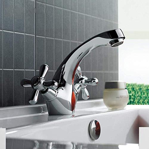 Grifo Grifo De Lavabo De Baño Plateado Clásico, Grifo De Inodoro, Grifo De Baño De Doble Manija, Control De Mezclador De Agua Fría Y Caliente