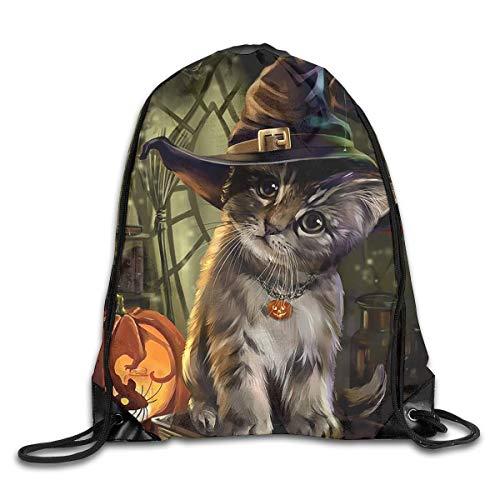 Jiger Happy Halloween Hat Cat Drawstring Backpack Bag Rucksack Shoulder Sackpack Sport Gym Yoga Runner Beach Hiking Dance