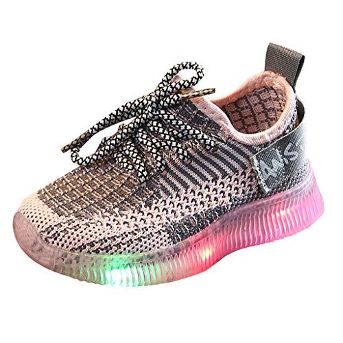 TTLOVE Kinder Turnschuhe mit Licht LED Leuchtende, Jungen Mädchen Sportschuhe Mode Kinderschuhe Weiche Outdoor Lässige Laufschuhe Sneaker für Unisex Kinder,15 Monate - 6 Jahre(Rosa,22)