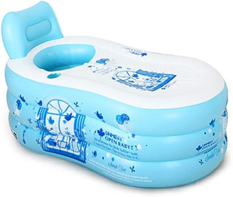 ZHAO ZHANQIANG Tragbare Faltbare Erwachsene SPA Aufblasbare Badewanne Freistehende Badewanne mit Luftpumpe (Blau)