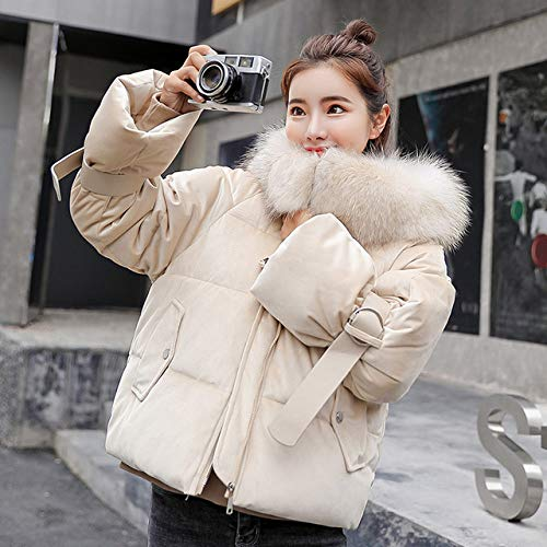 YYMMQQ Chaqueta de Plumas,Gold Velvet Thick Short Jacket Female Winter Big Fur Collar Korean...