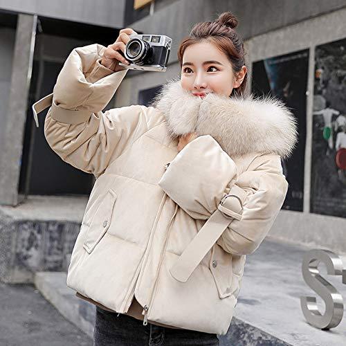 WFSDKN Dames Parka Goud fluweel dikke korte jas vrouwelijke winter grote bontkraag Koreaanse locomotief lam mantel studentin korte mantel