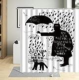 Cortina de Ducha Paraguas de día lluvioso Cortina de Baño de Poliéster Impermeable Antimoho Cortina Ducha con 12 Ganchos 180x180 cm