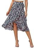 SweatyRocks Women's Boho Ruffle Hem Tie Side High Waist A Line Midi Wrap Front Skirt Black White Large