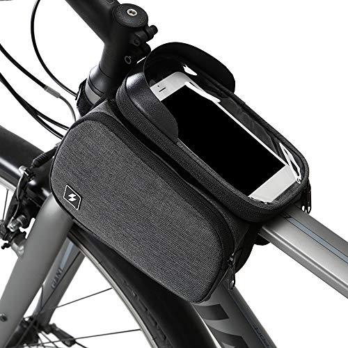 Lixada Sacoches de Cadre vélo, Vélo Tube Haut Vélo Cadre Avan, Sac Vélo, Vélo Écran Tactile Pochette pour Téléphone 6 Pouces