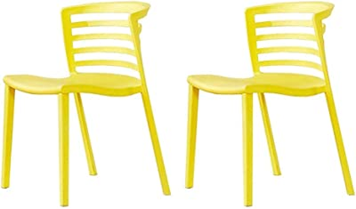 Kitchen Home Decor Dining Chair Set of 2 Plastic Table Chair Hollow Design Backrest Chair Modern Leisure Chair Non Slip Multi Color Optional (Color : Yellow)