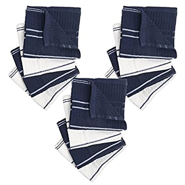 Ribbed Terry Kitchen Dish Cloths (13x13  Set of 12 - Assorted Navy Blue & White) Absorbent & Durable for Cleaning Countertops, Dusting, or Washing Dishes