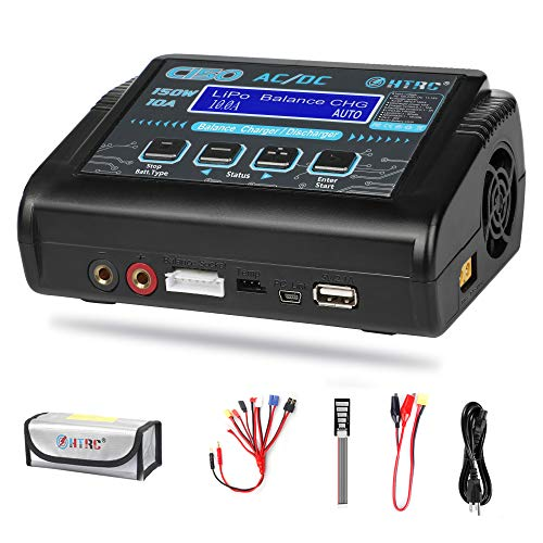 LiPo Charger RC Charger Lipo Battery Balance Charger RC Car Battery Charger Discharger 150W 10A 1-6S AC/DC for Li-ion/Life/NiCd/NiMH/LiHV/PB/Smart Battery(Battery Charger Adapter)
