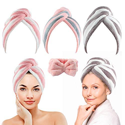 3 Pack Microvezel Haar Handdoek Wrap voor Vrouwen + 1 Pack Elastische Bowtie Hoofdbanden voor Makeup, Twisty Haar Drogen Handdoeken voor Lang Haar en Hoofdbanden voor Wassen Gezicht