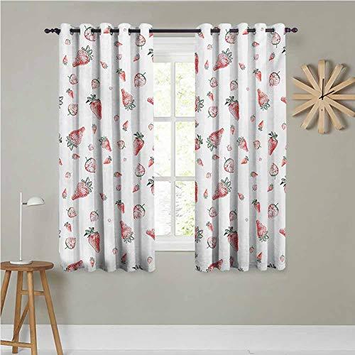Cortinas opacas con aislamiento térmico, 132 x 160 cm, juego de 2 cortinas con diseño de frutas tropicales, saludables, para dormitorio, verde y blanco