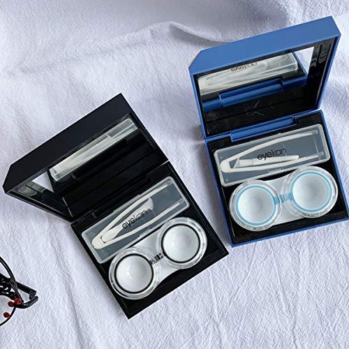Hothotgirl Kontaktlinsenbehälter modische Reise Kontaktlinsen Etui Linse Spiegel Case Behälter Set (Blau)