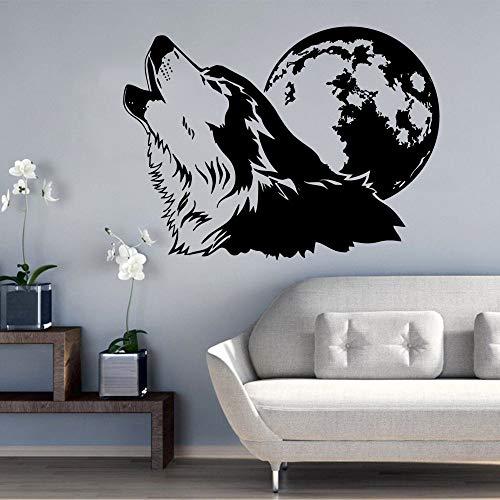 wZUN Calcomanías de Pared de Luna de Lobo extraíbles para habitación de bebé con decoración del hogar Mural decoración de Sala de Estar Pegatinas de Dormitorio 42x55 cm
