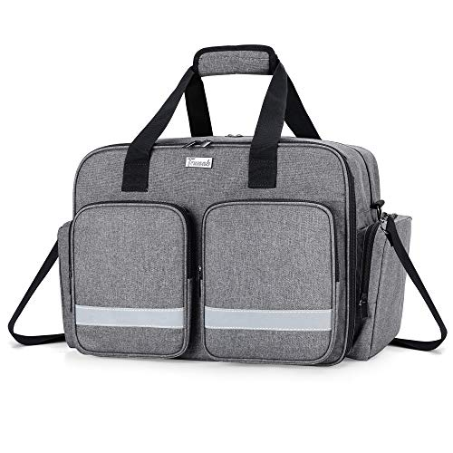 Trunab Medical Bag Empty First Aid Bag for Nurse, Doctor, Paramedic, Home Care Nursing Bag with Padded Layer for Laptop, Bag Only, Patented Design, Grey