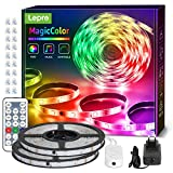 Lepro 20M Tira LED RGB Música, Tira Luz MagicColor, Tira luz música con control remoto, Tira LED Dreamcolor Impermeable IP65, Cadena luz cambia de color, Luz tira para decoración de fiestas navideñas