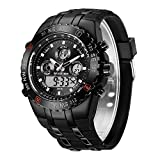 GOLDEN HOUR Huge Heavy Military Sports Watches for Men, 3ATM Waterproof, Stopwatch, Date and Date, Alarm, Luminous Digital Analog Wrist Watch with Rubber Band in Black