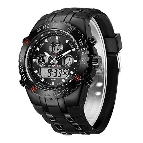Reloj de Pulsera analógico Digital con Correa de Goma en Color Negro, con diseño de Horas y Militares, Sumergible hasta 3 ATM, cronómetro, Fecha y Fecha, Alarma, Luminoso y Luminoso