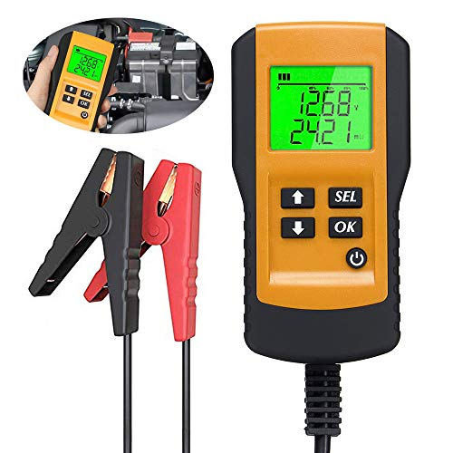 wolfjuvenile 12-V- Automatischer Auto Batterietester, Digitalgenerator-Tester 100-2000 CCA, Vollautomatisches Batterieladegerät, Für Auto-Motorrad-Autodiagnosetool,Yellow