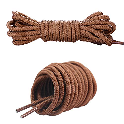 Canwn Lacets Ronds, [3 Pairs] Lacets Renforcés et Résistants pour Chaussures, Baskets, Bottes, Bottines - Epaisseur : 4 mm de Diamètre - Marron