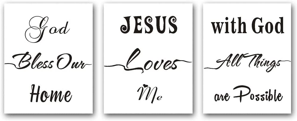 TANXM 3 Set - Christian spiritual Wall Art Painting Poster,Jesus quotes & Religious sayings art canvas print, Inspirational Quote&Saying Art Painting,Motivational Phrases Wall Art,Biblical wall art inspiration verse Poster For Church, Baby room,living room Decor - No Frame,8