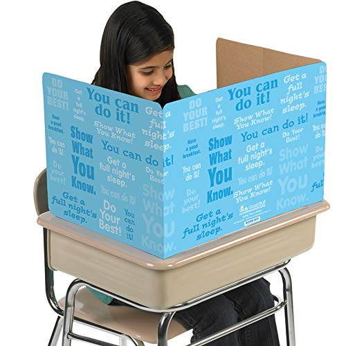 Really Good Stuff Privacy Shields for Student's Desks – Desk Shield Keeps Their Eyes on Their Own Test/Assignments –Blue with Motivational Messages (Set of 12)