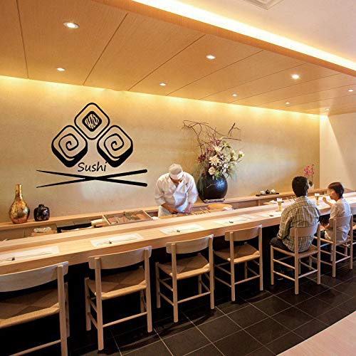 Wand Vinyl Decal Sushi Bar Beste Kwaliteit Japanesse Voedsel interieur Decor Japanse Voedsel Wasabi Rolls Interieur Decor 42x55cm