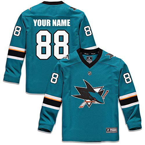 Custom San Jose Sharks Youth Replica Jersey - Teal (Youth (L/XL))