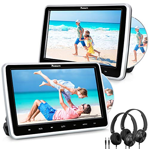 "NAVISKAUTO 10.1"" Dual Car DVD Players with HDMI Input 2 Headphones Headrest Mount Support AV Out & in Last Memory Region Free(2 Headrest DVD Players)"