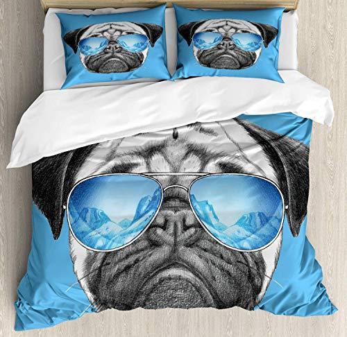 Juego de ropa de cama con diseño de carlino con espejo y gafas de sol, ilustración de animal de mascota, decoración de 3 piezas con 2 fundas de almohada, tamaño queen, color azul perla