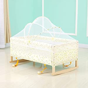ZRWZZ Baby Cot  Wooden Baby Travel bed  Mobile Portable Crib  Safe and Secure Travel Crib Detachable Folding Crib with Mosquito Net Encrypted Honeycomb Buckle Design  Color