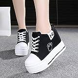 GTVERNH Zapatos de mujer/Verano/en el primavera Zapatos de lona Muffin Parte inferior en el interior Alzapaños Corbata Redonda Cabeza Estudiantes Zapatos Casuales Mujer Zapatos, negro, Thirty-nine