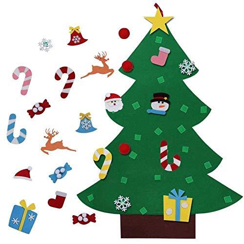 Shanke DIY Árbol de Navidad Artificial de Fieltro con Adornos 26 pcs para Niños Desmontables año Pared de Puerta Decoración Colgante de Navidad