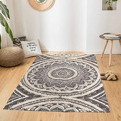 KIMODE Tufted Cotton Area Rug 4 x 6 Farmhouse Mandala Throw Rugs Hand Woven Print Collection product image