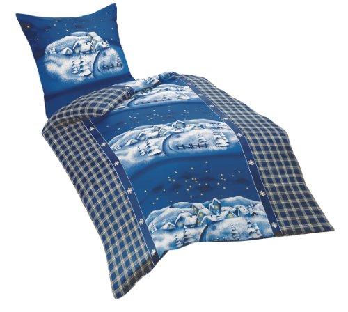 Kaeppel G-007985-01D1-VA97 Bettwäsche 2-teilig Winterdream 135 x 200 cm Biber, blau