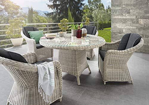 Destiny Malaga II Sessel Luna Tisch Vintage Weiß Gartenmöbelset Garnitur Sitzgruppe Esstisch Sessel