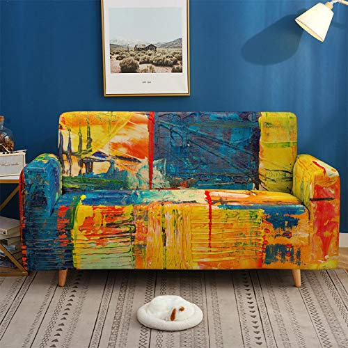 Stretch Covers For Sofa Couch Elastic Spandex Abstract Scenery Printed 1/2/3/4 Seater Sofa Cover Armchair Slipcovers Furniture Protector for Children Pet,3,seater 190,230cm