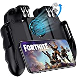 """Mobile Game Controller with Cooling Fan/Phone Holder, Phone Gamepad for PUBG/Fortnite/Call of Duty, Tomoda L1R1 Mobile Triggers for 4.7""""-6.5"""" iOS Android Phones"""