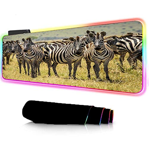 Mouse Pads Prairie Animal Scenery RGB Large Gaming Mouse Pad for Non-Slip Rubber Base 14Lighting Modes,4mm Thick LED Soft Extended Mouse Mat for Laptop and Computer zebra_(90×40cm)